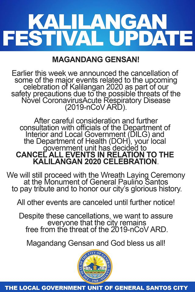 Kalilangan Festival 2020 cancelled due to nCoV