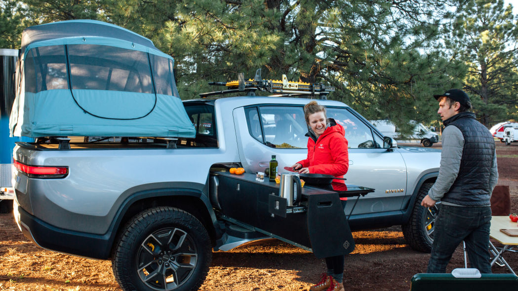 The Rivian R1T Electric Vehicle's Camp Kitchen in Action