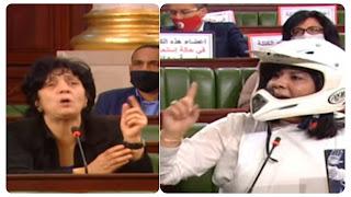 بالفيديو تلاسن حاد بين عبير موسي و سامية عبو على المباشر؟