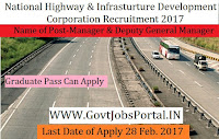 National Highways and Infrastructure Development Corporation Recruitment 2017 –Deputy General Manager & Manager