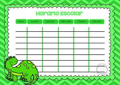 Horario escolares para imprimir con dinosaurio