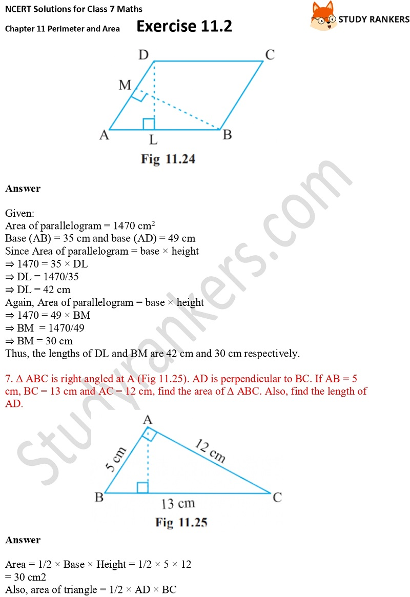 NCERT Solutions for Class 7 Maths Ch 11 Perimeter and Area Exercise 11.2 5