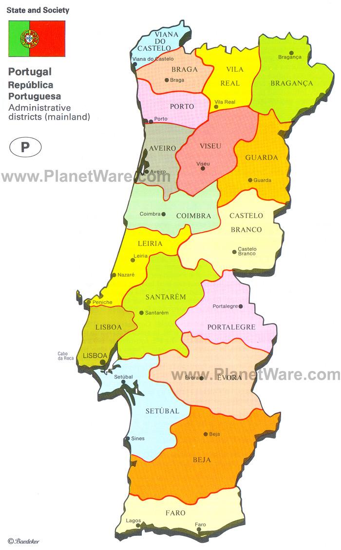 mapa de portugal com todos os distritos Mapa de los distritos de Portugal | Portugal Turismo mapa de portugal com todos os distritos