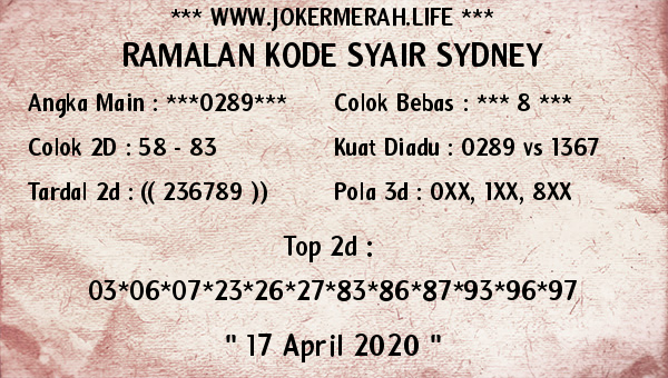 Prediksi Sidney 16 April 2020 - Joker Merah Sidney