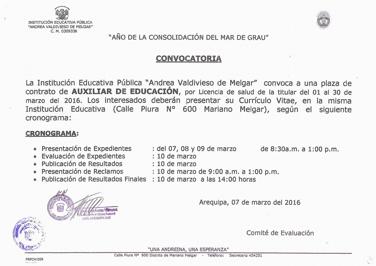 Convocatoria para auxiliar de educaci n y personal de for Convocatoria para plazas docentes 2016