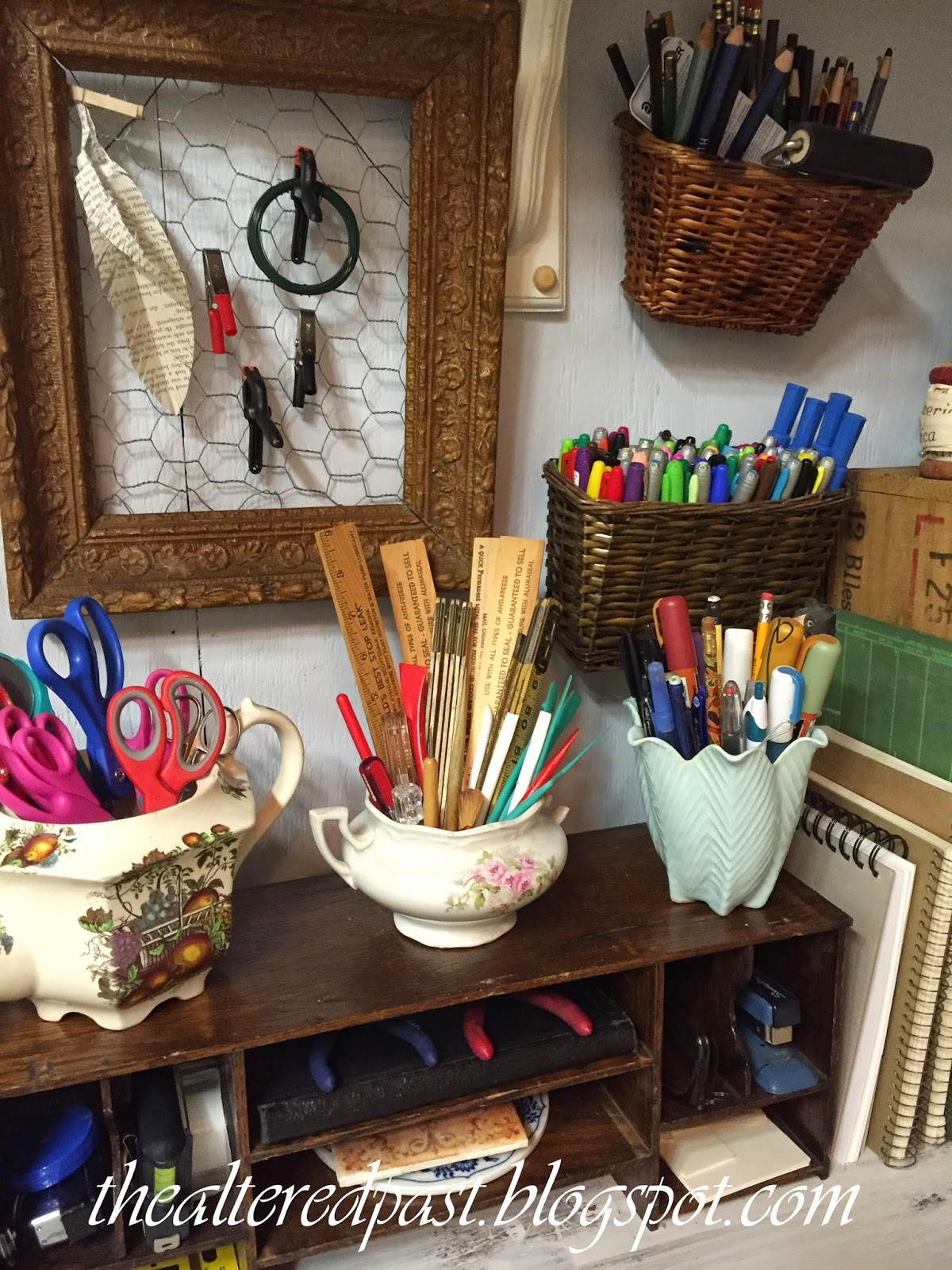 workroom organization, old dishes, baskets, and frame, the altered past blog
