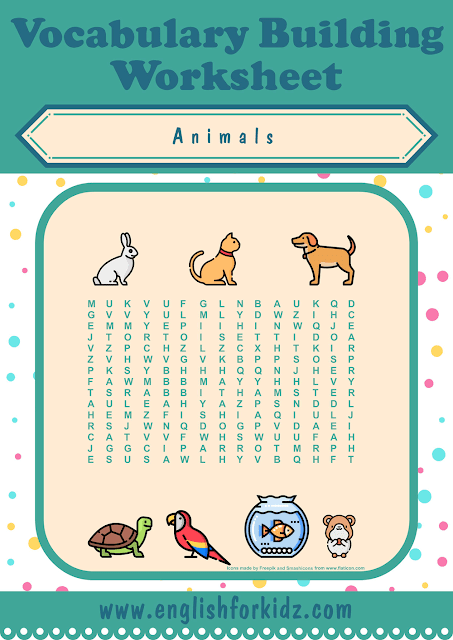 Pets word search worksheet - printable ESL materials