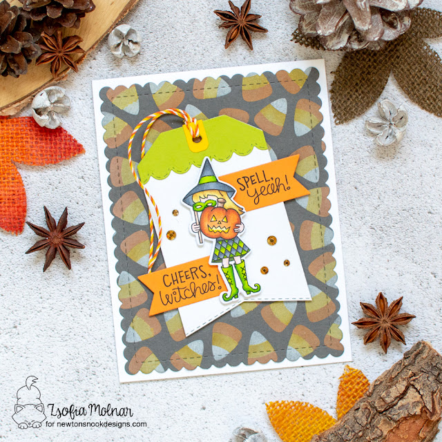 Cheers, Witches! Halloween Card by Zsofia Molnar   Candy Corn Stencil Set and Brooms and Boos Stamp Set by Newton's Nook Designs