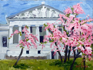 pink trees, classical architecture, Japanese flowers