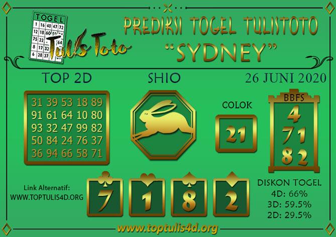Prediksi Togel SYDNEY TULISTOTO 26 JUNI 2020