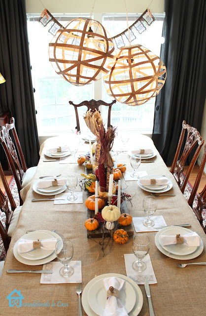 burlap, orange and rust colors in this chippendale dining set