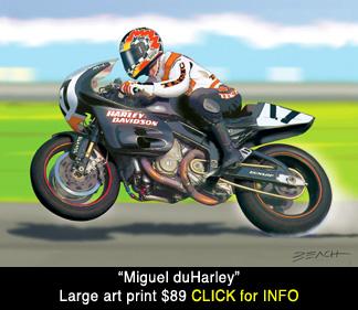 Harley Davidson VR1000 art scene, Miguel Duhamel reproduction print for sale