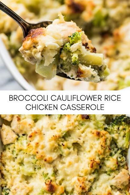 BROCCOLI CAULIFLOWER RICE CHICKEN CASSEROLE