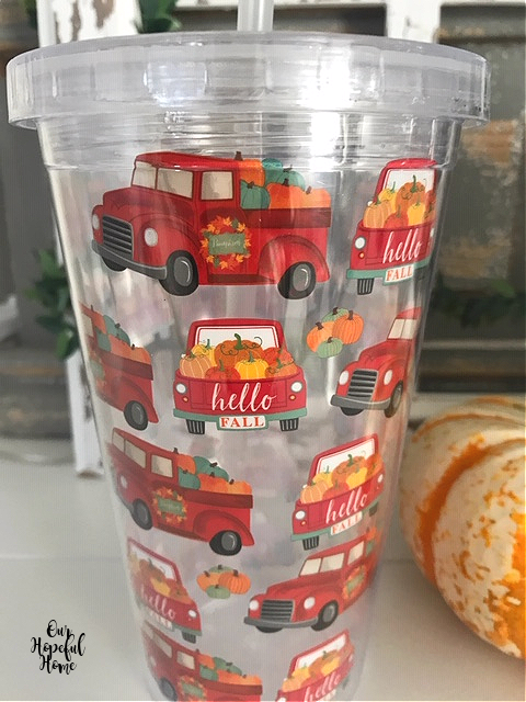 red farm truck pumpkins hello fall plastic up straw