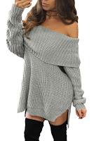 Pulover lung tricotat, cu model oversize si umerii goi
