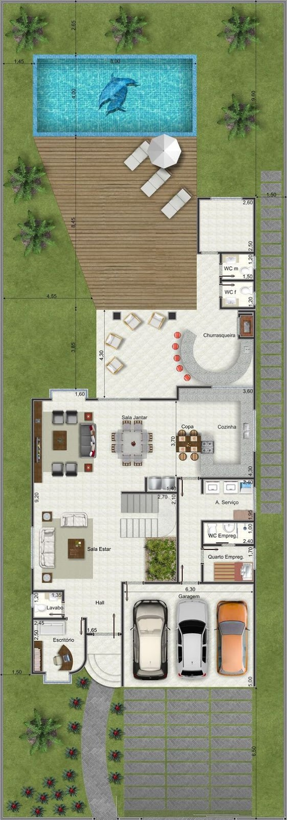 Large House floor plan 326 square meters with 3 bedrooms and private pool