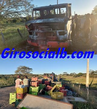 Caminhão carregado de frutas e verduras pega fogo na PE 270  enquanto retornava da feira livre de Tupanatinga para Buíque