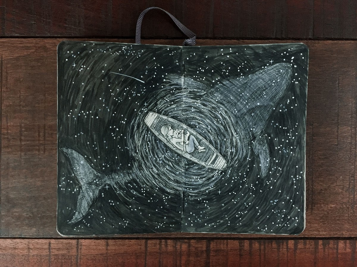 10-Peaceful-Sleep-with-a-Whale-Kerby-Rosanes-Detailed-Moleskine-Doodles-with-many-Whales-www-designstack-co
