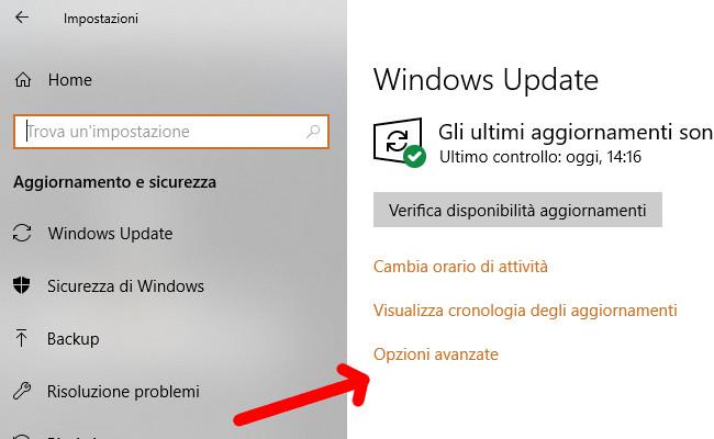 Windows Update Opzioni avanzate