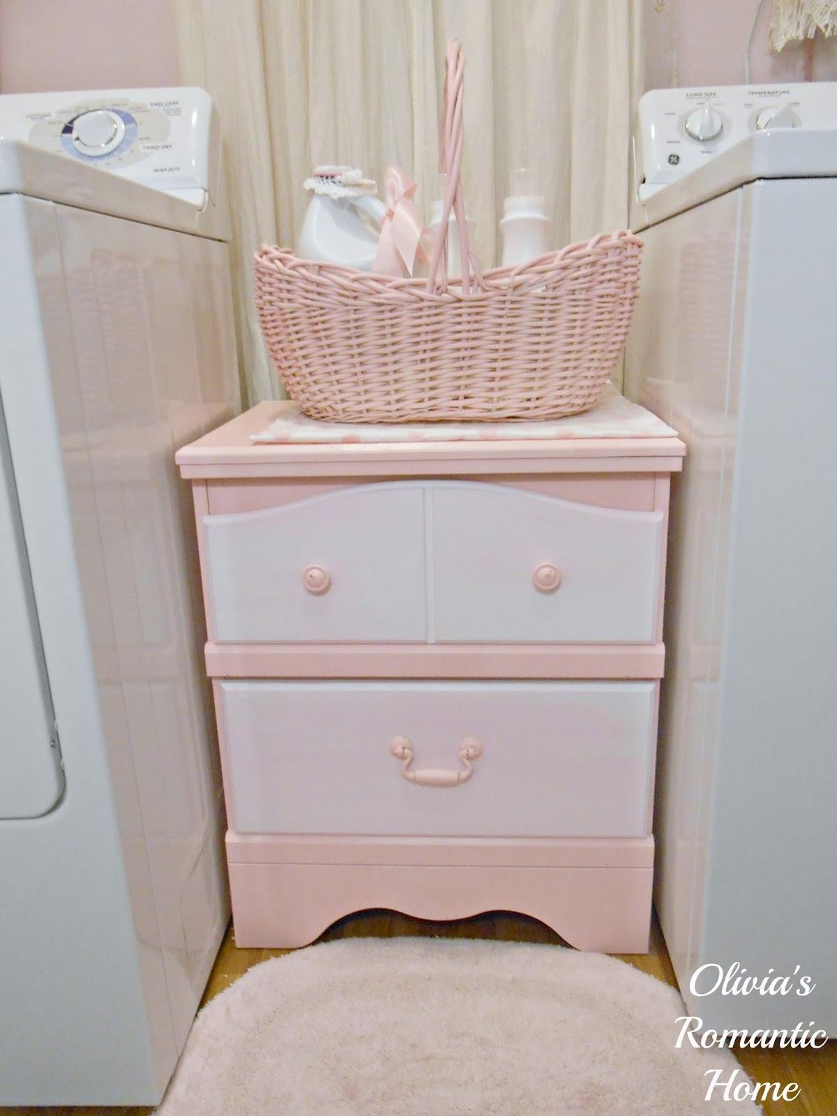 Pink Bedside Table: Olivia's Romantic Home: Bedside Table Turned Laundry Hamper
