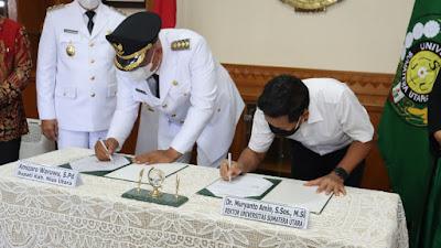 Bupati Nias Utara Tandatangani MoU tentang PSDKU Universitas Sumatera Utara Medan