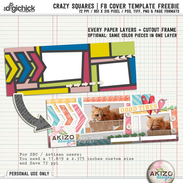 CrazySquares FacebookCover freebie