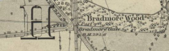 Map:  Bradmore Gate 1868 OS 6-inch map  Image courtesy of the National Library of Scotland