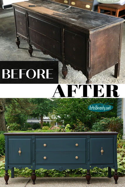 before and after roadside rescue buffet makeover.  https://www.artisbeauty.net/2019/09/rescued-antique-sideboard-makeover.html