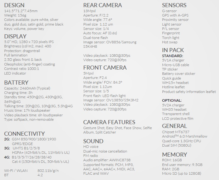 Alcatel SHINE LITE Specs