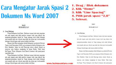 Cara Mengatur Jarak Spasi 2,0 di Microsoft Word 2007
