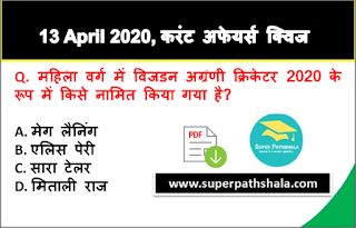 Daily Current Affairs Quiz in Hindi 13 April 2020