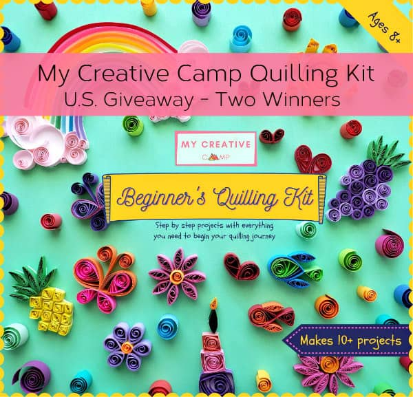 cover of boxed kit for beginner quillers shows colorful, cute project like flowers, butterfly, heart, and fish