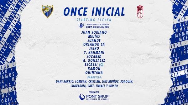 Málaga - Granada, alineaciones oficiales