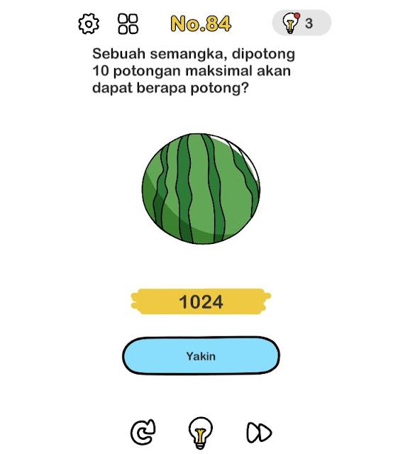 sebuah semangka, dipotong 10 potongan maksimal akan dapat berapa potongan?