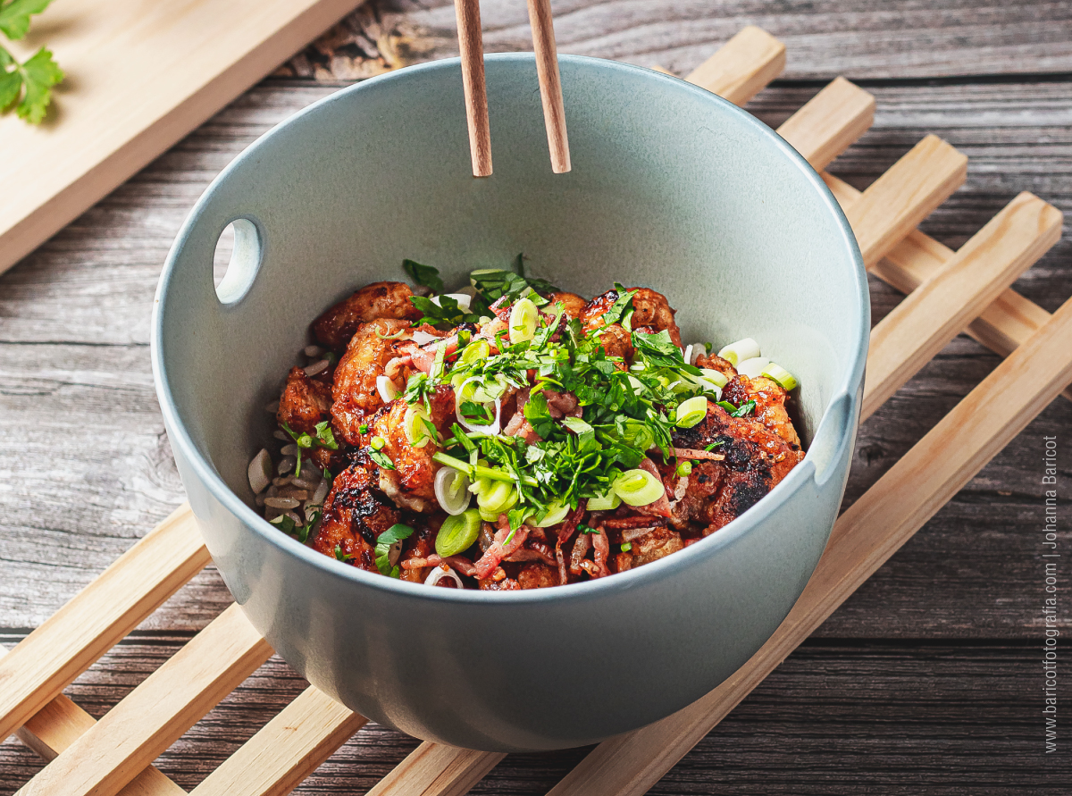 Mini sesión | Bowl de arroz base con carne agridulce