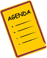 Coloured clip art headed AGENDA with 4 bullet points and lines