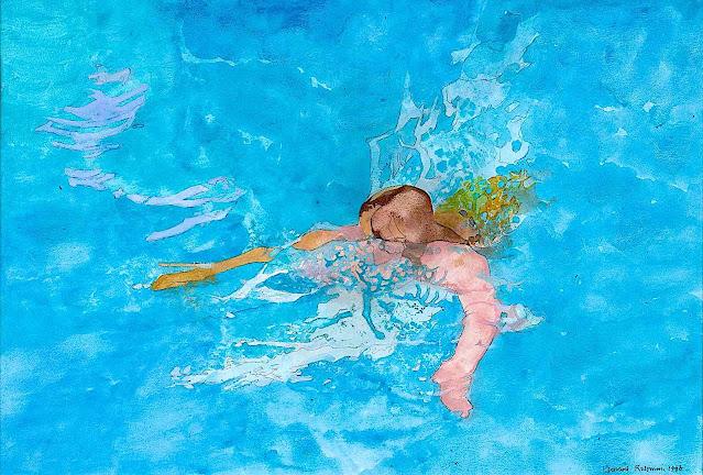 Leonard Rosoman art, a woman swimming in blue water