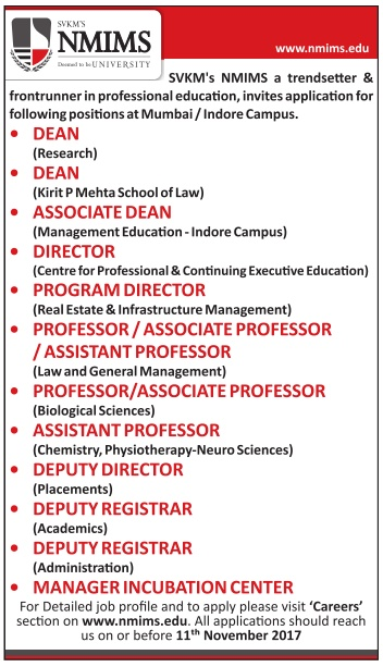 Nmims University Wanted Faculty Plus Non Faculty Jobs