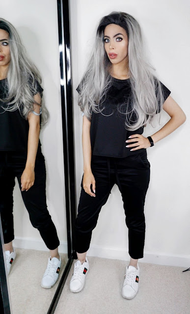 Blogger Savana Rae wearing The Black Short Sleeve Boxy Loungewear Set - Lacy