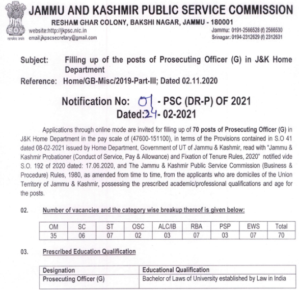JKPSC PO Recruitment 2021 Apply Online
