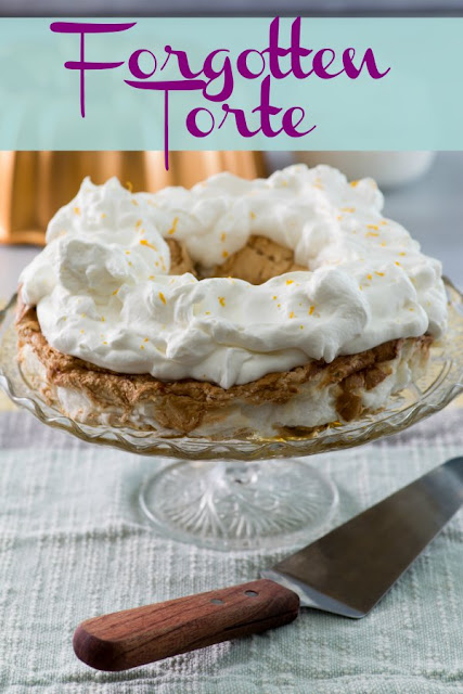 Forgotten torte is an old fashioned dessert made from egg whites and whipped cream. You make it the night before and forget it in the oven until morning.  It is simple and oh so delicious.
