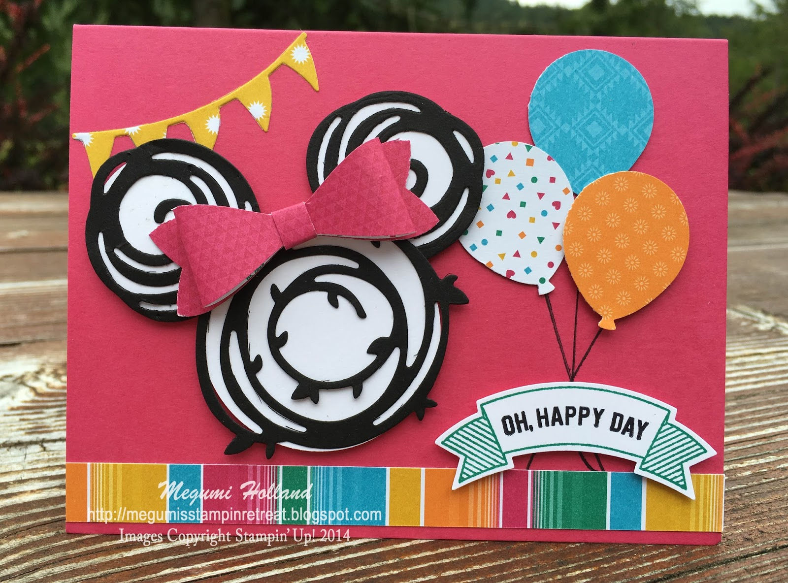 megumi's stampin retreat swirly scribbles minnie mouse birthday card, Birthday card