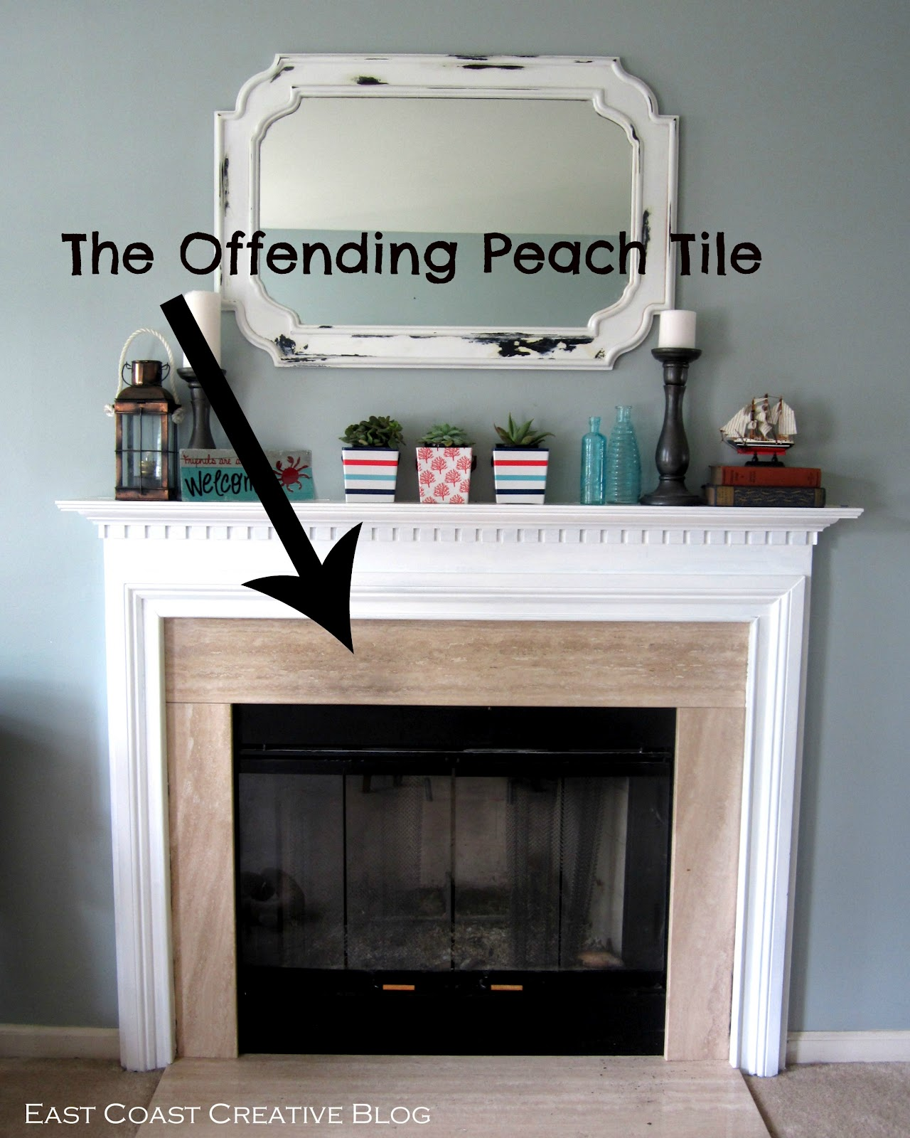 Stenciled Faux Tile Fireplace Tutorial