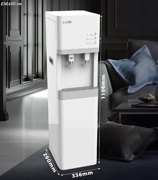 Kích thước cây nước nóng lạnh Karofi HCV200, làm lạnh bằng Block, khóa vòi nóng an toàn với trẻ nhỏ