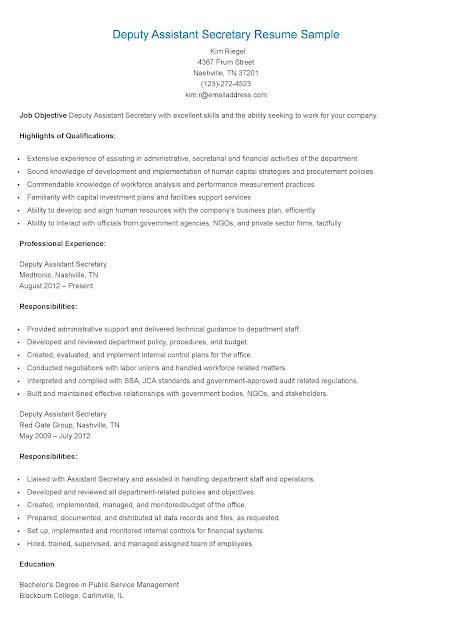 resume sles deputy assistant resume sle