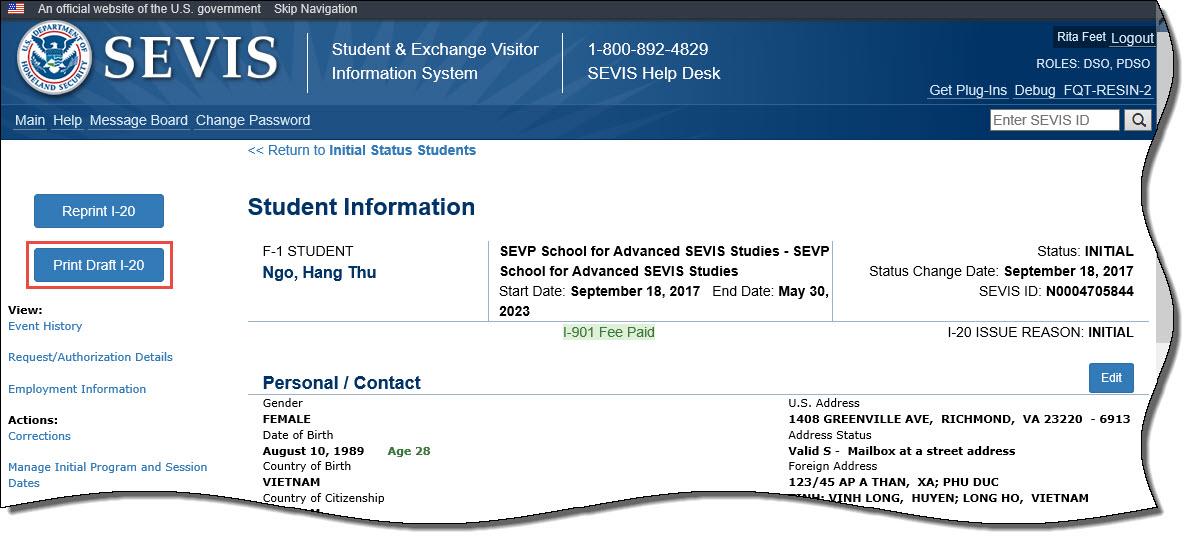 Nộp lệ phí SEVIS để xin visa du học Mỹ thành công