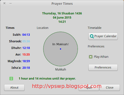 Minbar Prayer Time - software aplikasi azan Linux