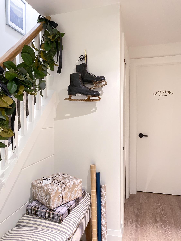 christmas bannister garland, christmas stair decor
