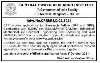 CPRI Recruitment 2021 JRF/SRF Posts