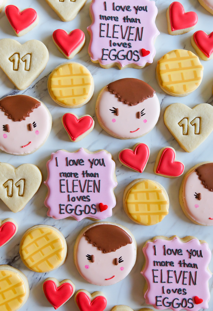Stranger Things Valentine Decorated Cookies, decorating tutorial   bakeat350.net